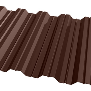 Фото профнастила H-35 коричневого цвета
