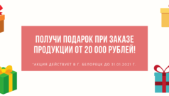 Получи подарок при заказе продукции от 20 000 рублей!